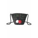Lovely Cherry Pattern Colored Plush Ball Sequin Embellishment Hairy Crossbody Bucket Bag 14*15*8 CM