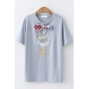 Chic Bow-Tied Round Neck Short Sleeve Floral Ice Cream Print Cotton T-Shirt