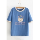Cute Cartoon Bear Letter LIFE WITH FLOWER Pattern Round Neck Short Sleeve Casual Tee