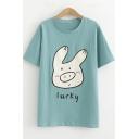 Cute Cartoon Lucky Pig Pattern Short Sleeve Loose Fit T-Shirt