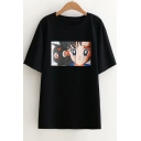 Fashion Comic Girl Pattern Round Neck Short Sleeve Regular Fit T-Shirt