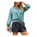 Womens Stylish Blue Chain Pattern Twist V-Neck Long Sleeve Blouse Top