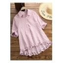 Girls Summer Fashion Plaid Printed Half Sleeve Button Down Ruffled Shirt Blouse