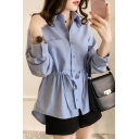 Basic Simple Plain Long Sleeve Drawstring Waist Button Down Shirt for Women