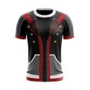 Summer Fashion Comic Cosplay Costume Round Neck Short Sleeve Black T-Shirt