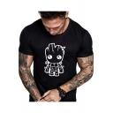 Fashion Cartoon Groot Printed Round Neck Short Sleeve Casual T-Shirt