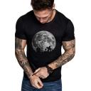 Simple Moon Printed Mens Round Neck Short Sleeve Black T-Shirt