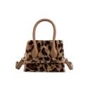Women's Fashion Plush Leopard Pattern Top Handle Crossbody Satchel Bag 19*14*7 CM