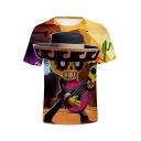 Funny Cartoon Comic Character with Guitar 3D Print Short Sleeve T-Shirt