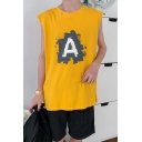 Guys Street Fashion Hip Hop Style Round Neck Sleeveless Simple Letter A Print Casual Tank Top