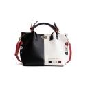 Large Capacity Color Block Letter DIGENNA FASHION Print Rivet Belt Embellishment Satchel Tote Handbag
