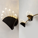 Simple Style Triangle Sconce Light 1/2 Heads Metal Sconce Light with Clear Crystal in Black for Stair