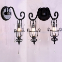 1/2 Lights Bell Shade Wall Sconce with Crystal American Rustic Clear Glass Sconce Light in Black for Living Room