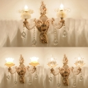 Glittering Crystal Blossom Wall Light Dining Room Two Heads Luxurious Sconce Light in Gold