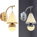 Modern Cone&Orb Wall Light Crystal Metal Hanging Sconce Light in Gold/Silver for Living Room