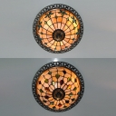 Stair Domed Flush Mount Light with Blue/Multi-Color Bead Shell 3 Lights Tiffany Style Ceiling Light