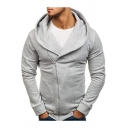 Men's Stylish Basic Simple Plain Oblique Zipper Front Slim Fitted Hoodie