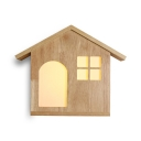 Wood Chalet Shaped Wall Light Child Bedroom Shop Rustic Style LED Sconce Light in Beige