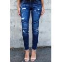 Womens New Fashion Ripped Raw Hem Pleated Regular Fit Jeans