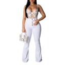 Womens Hot Popular High Waist Button-Fly Simple Plain White Slim Bootcut Flared Pants
