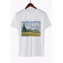 Trendy Oil Painting Printed Round Neck Short Sleeve Loose Casual White Tee