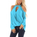 Womens Fashion Light Blue Cutout Halter Neck Cold Shoulder Long Sleeve Loose T-Shirt