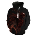 Cool 3D Printed Long Sleeve Sport Loose Black Pullover Drawstring Hoodie