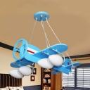 Modern Light Blue Pendant Lamp Propeller Airplane 4/6 Lights Wood Hanging Light for Kindergarten