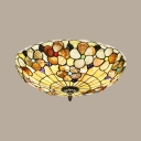 Traditional Style Beige Ceiling Light Desert Rose Shell Flush Mount Light for Living Room Kitchen