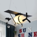 Creative Airplane Chandelier Light Metal Black&White Pendant Light for Boys Bedroom