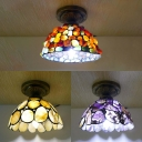 Corridor Kitchen Bowl Ceiling Mount Light Glass Stone 1 Head Classic Tiffany Flush Light