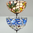 Antique Tiffany Bowl Inverted Ceiling Light Stained Glass Semi Flush Mount Light for Restaurant Villa
