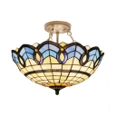 Umbrella Shaped Inverted Semi Flush Light 2/3 Lights Tiffany Nautical Stained Glass Ceiling Lamp for Cafe