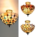 Shell Bead/Flower/Peacock Semi Flush Ceiling Light Stair 2 Lights Rustic Tiffany Ceiling Lamp in Beige