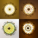 16 Inch Glass Bowl Ceiling Mount Light Tiffany Traditional Ceiling Lamp for Balcony Bedroom