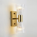 2 Lights Ribbed Cone Wall Light Classic Style Metal Clear Crystal Sconce Lamp in Gold for Corridor