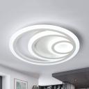 Modern Slim Ring Flush Mount Light Acrylic Warm/White LED Ceiling Fixture for Study Room