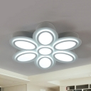 88W Flower LED Ceiling Mount Light Kids Acrylic Flush Light in Warm/White for Nursing Room