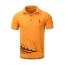 Summer Mens Stylish Sea Wave Pattern Short Sleeve Casual Polo Shirt