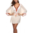 Womens Summer Holiday Sexy Plunging V-Neck Batwing Sleeve Plain Mini Beach Cover Up Dress