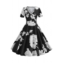Womens Retro Surplice V-Neck Short Sleeve Chic Floral Printed Midi Black Flared Dress