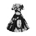 Womens Retro Surplice V-Neck Short Sleeve Chic Floral Printed Midi Black Flared Dress