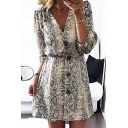Womens Trendy Snakeskin Pattern V-Neck Button Front Mini A-Line Dress
