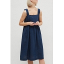Womens Trendy Simple Plain Sleeveless Button Embellished Back Midi Linen Smock Dress