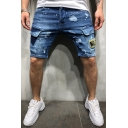 Men's Fashion Ripped Detail Letter Tiger Patchwork Flap Pocket Side Light Washed Denim Shorts