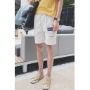 Summer Trendy Letter Patchwork Destroyed Ripped Rolled Cuff Drawstring Waist Denim Shorts
