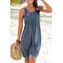 Fashion Blue Allover Star Printed Round Neck Sleeveless Pleated Midi Casual Tank Dress