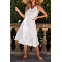 Summer Fancy V-Neck Sleeveless Bow-Tied Waist Midi A-Line Ruffled Dress