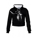 Cool Hat Figure 3D Pattern Basic Long Sleeve Casual Loose Black Cropped Hoodie