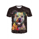 Lovely Colorful Dog 3D Printing Round Neck Short Sleeve T-Shirt